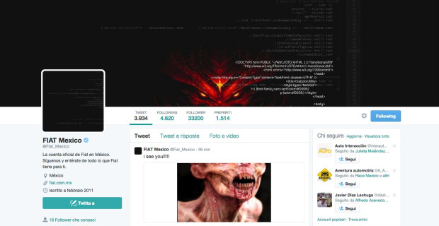 Fiat Mexico Twitter Hackeado